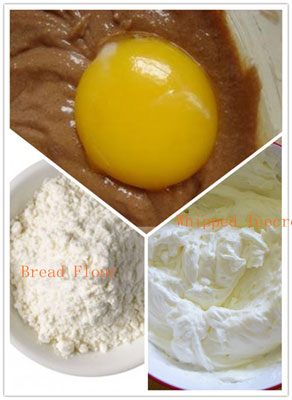 milk powder and egg for making chocolate mocha bread
