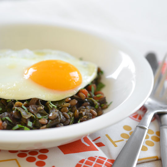 Braised Lentils and Chard Topped with A Poached Egg