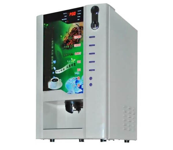 Coin operated instant coffee hot beverage vending machine