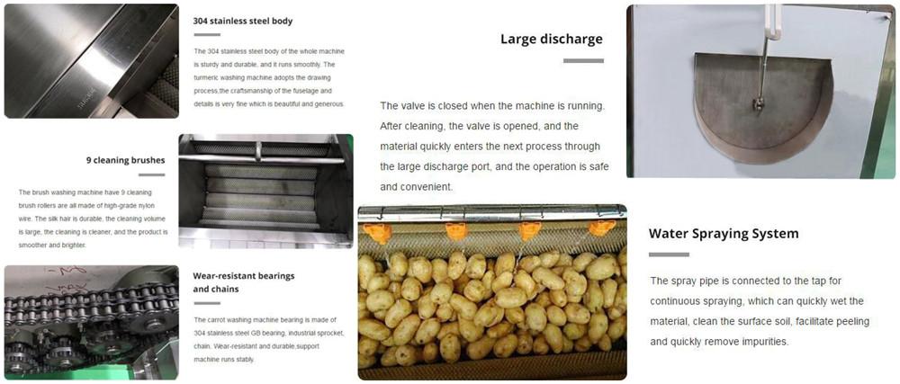 Brush Type Potato Washing&Peeling Machine Features
