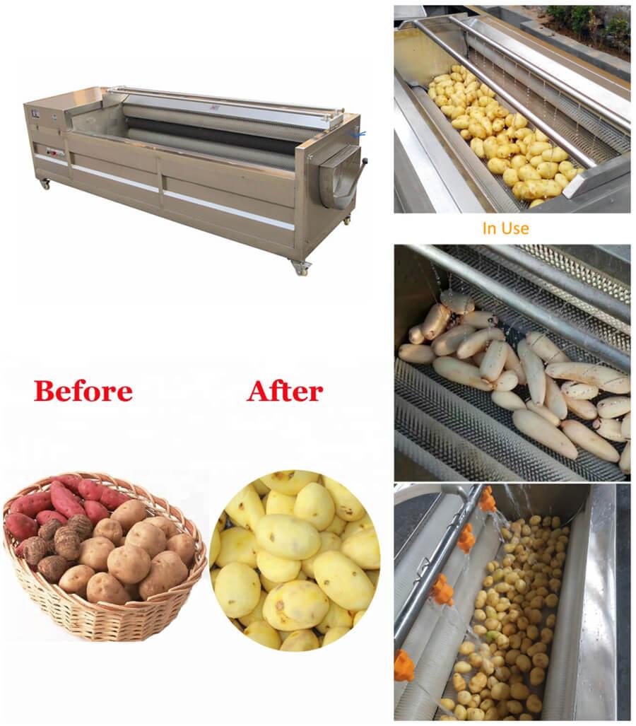Brush Type Vegetable Fruit Washing and Peeling Machine Introduction