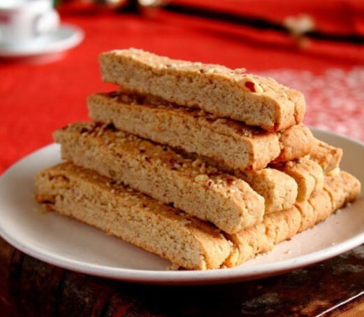 Golden Strips Bean Dregs Almond Cake