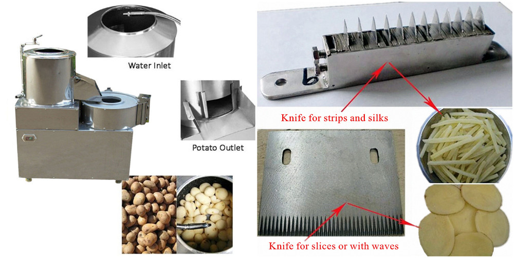 Potato Peeling Slicing Stripping Machine Structures