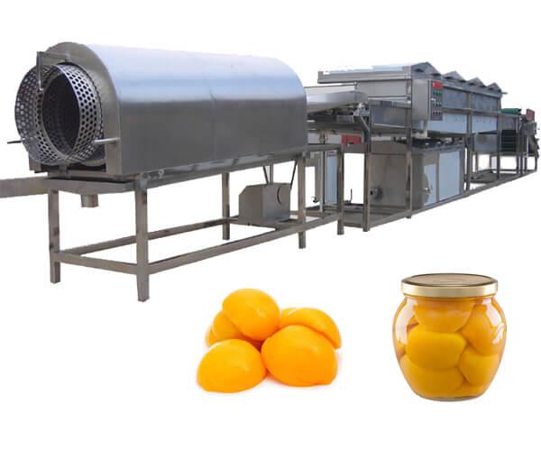 peach peeling processing line
